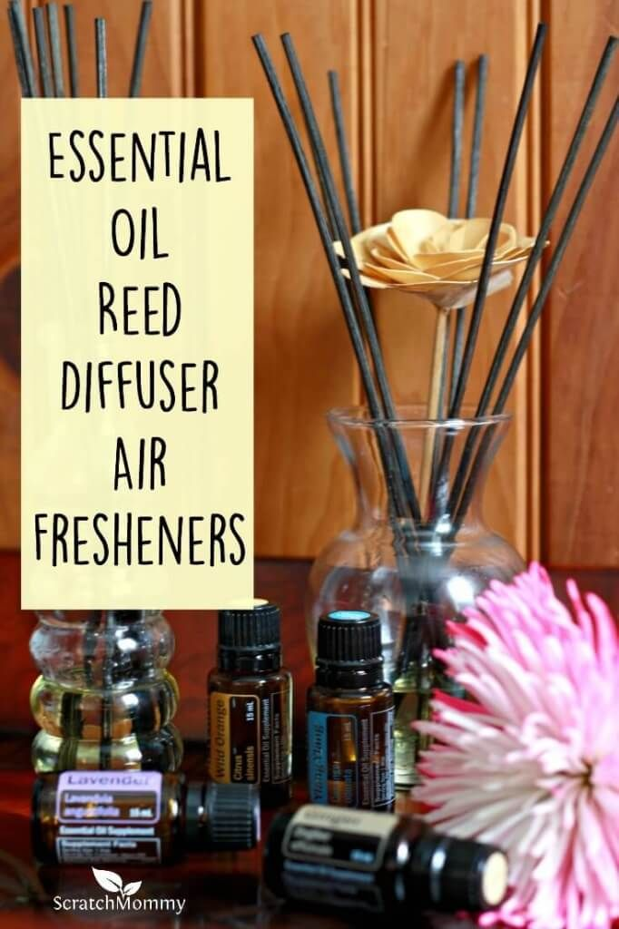 If you're looking for an essential oil air freshener option that doesn't use electricity and looks nice, you can make a DIY essential oil reed diffuser.