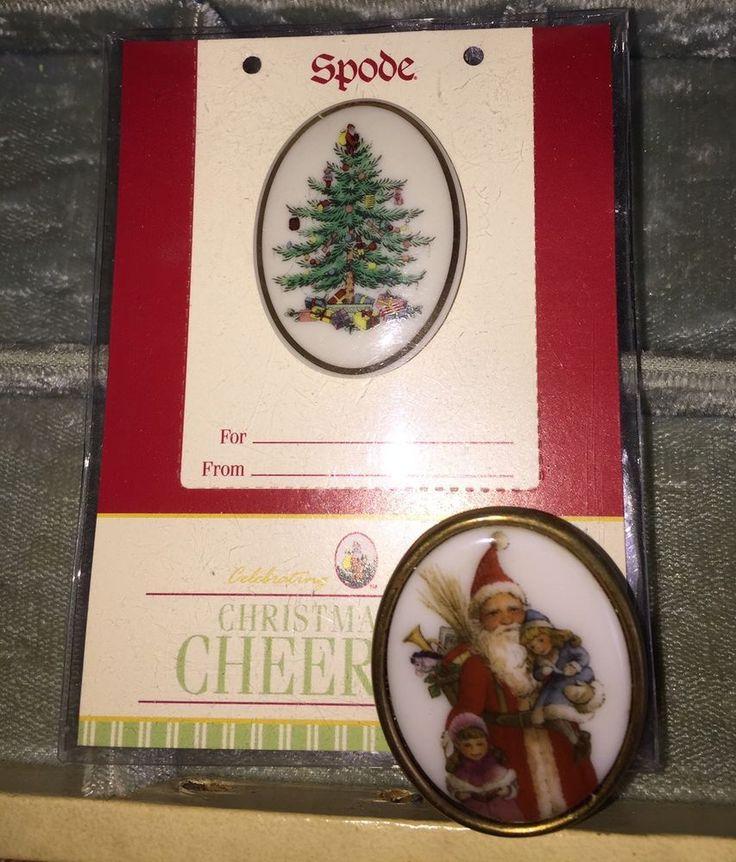 2004 SPODE Christmas Tree PIN Mint On Card (MOC) Brooch Porcelain Plus Santa Pin  | eBay