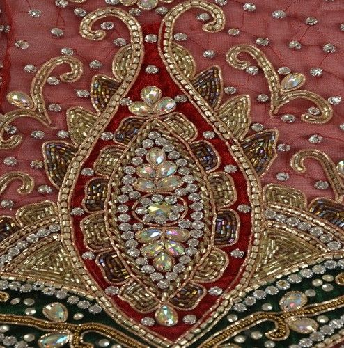 VINTAGE DESIGN FABRIC HAND BEADED TAPESTRIES INDIAN ART CRAFT PATCH WORK PAISLEY