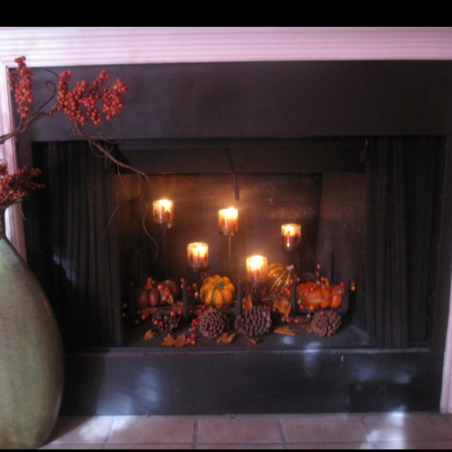 "Definitely doing this for my ""fall"" fireplace decor!!!"