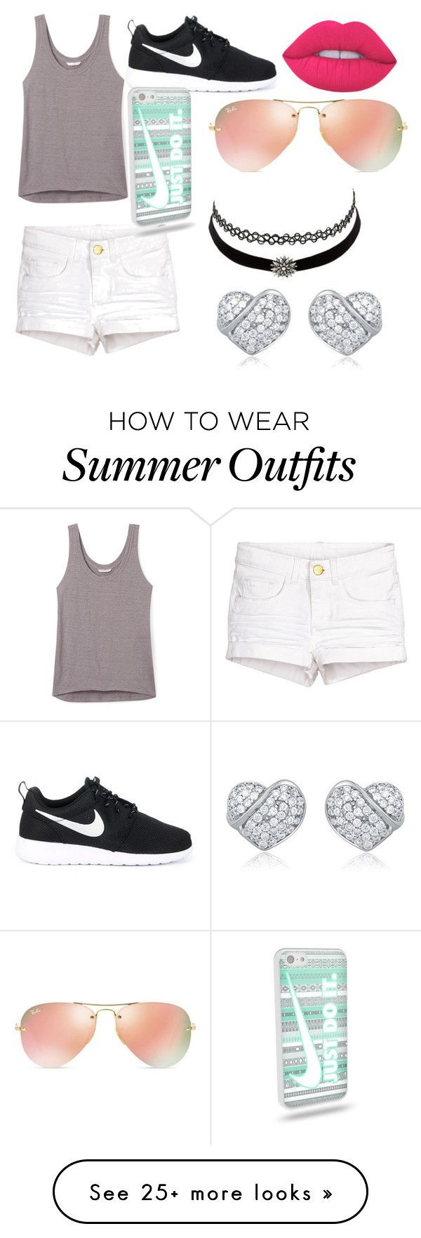 """""""Cute outfit for summer lol! ✌️"""" by chloewood2006 on Polyvore featuring Rebecca Minkoff, NIKE, Ray-Ban, Lime Crime and Charlotte Russe"""