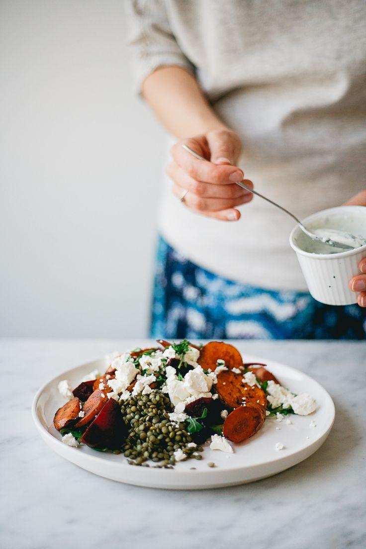 awesome Roasted Vegetables and Lentil Salad w/ Feta and Yogurt/Garlic Dressing