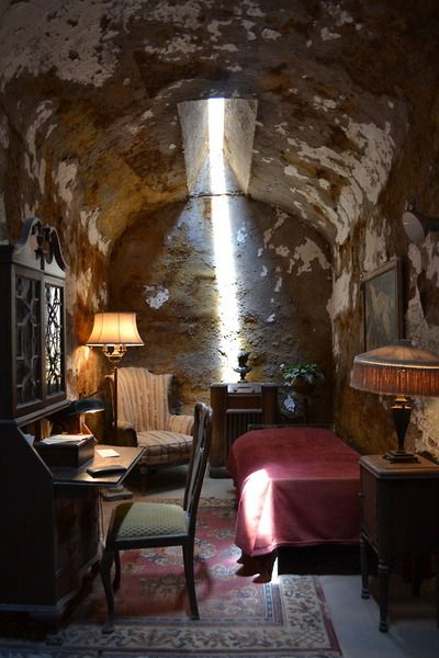 """Al Capone's cell at Eastern State Penitentiary in Pennsylvania. Al complained of a ghostly visitor: a man who'd been slaughtered in the St. Valentine's Day Massacre in 1929.    One of these victims, James Clark, had been Bugs Moran's brother-in-law, and The other Eastern State inmates could hear Capone at night screaming  """"Jimmy,  leave me alone."""""""