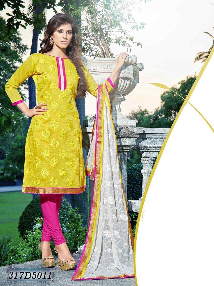 Salwar Suit Online Shopping / Yellow Chanderi Cotton Dress Material