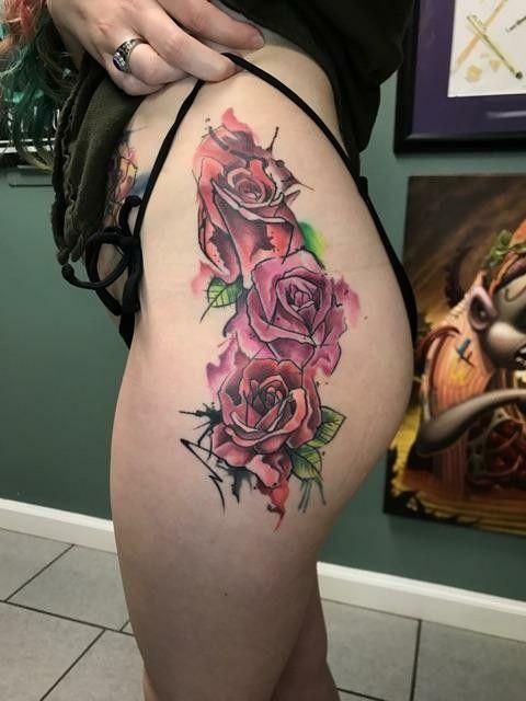 Watercolor rose hip tattoo