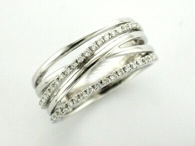 'SACHA' --  Elegant Band Ring with Crossover Layers of Baby Diamonds & Polished Plain Bands  in 18ct White Gold -   Diamond Wt. 0.25 carat.