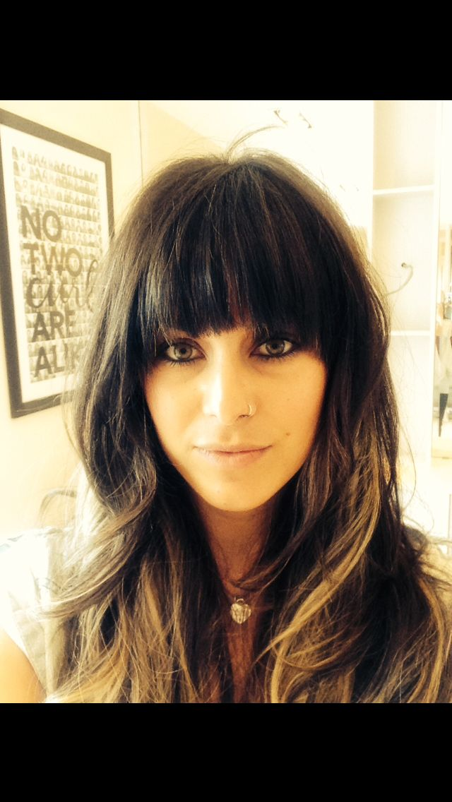 Fringe / bangs  brown hair with peekaboo highlights. - Really like this one.