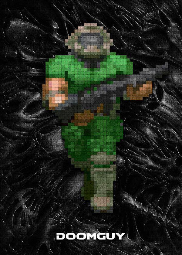 Classic Doom Characters Doomguy Displate Artwork By Artist