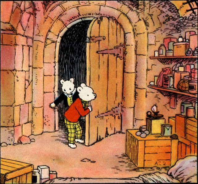 1949 Alfred Bestall illustration of Rupert Bear and Uncle Bruno, from The Rupert Adventure Series No. 2, United Kingdom.