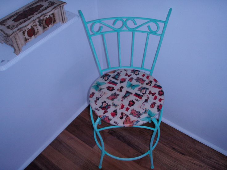 $5 chair painted aqua and seat covered with material and mod podge