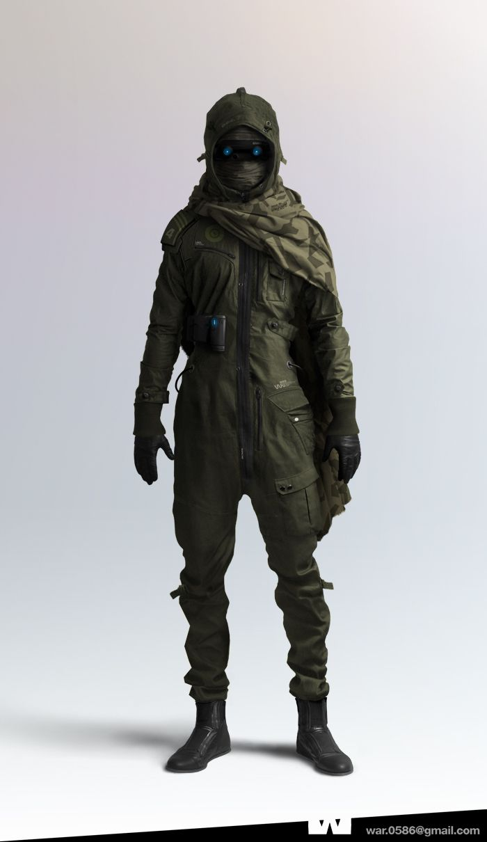 Concept piece for WAR project (on ConceptArt.com).  I very much like the military hooded jumpsuit with the hybrid cape/parka thing.