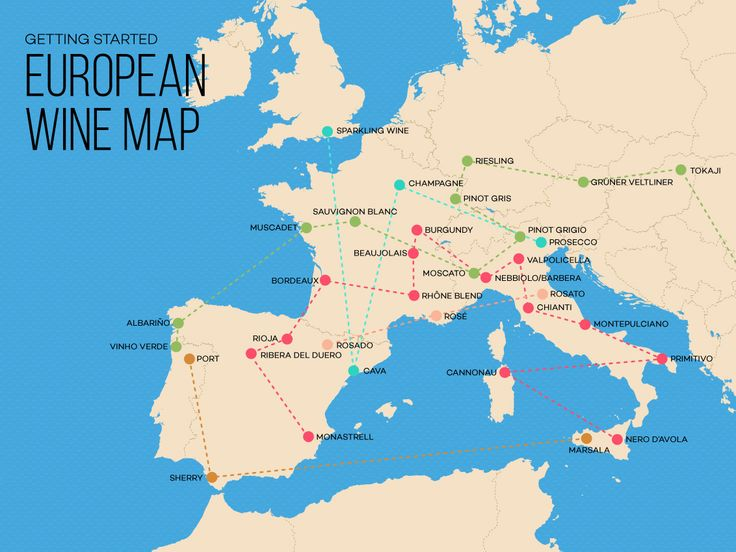 European Wine Exploration Map.   #Wine101 #LearnWine #OldWorld