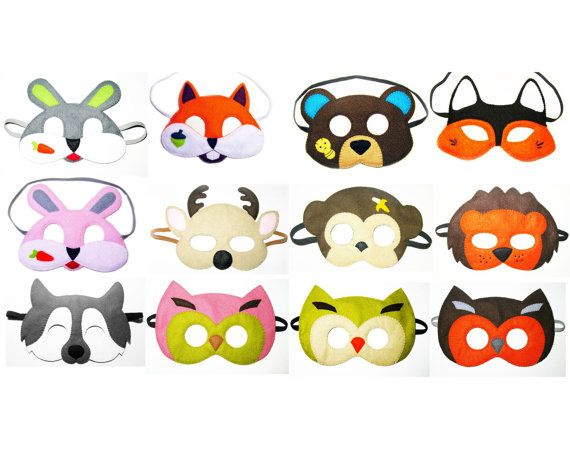 5 felt Woodland animals Masks party pack for kids - YOU CHOOSE STYLES - Dress Up play costume accessory set - Birthday gift for Boys Girls