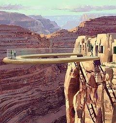Méga structure de verre et d'acier, suspendue à plus de 1 200 mètres (4 000 pieds) au-dessus du fond du Grand Canyon et de la Colorado River, merveille technologique pour les uns, hérésie pour les autres, la passerelle en forme de fer-à-cheval est désormais ouverte au public, au terme de trois années de construction.