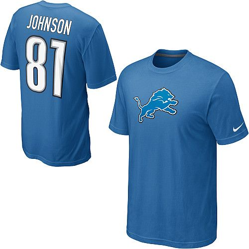 Nike Detroit Lions #81 Calvin Johnson Name & Number NFL T-Shirt - Blue