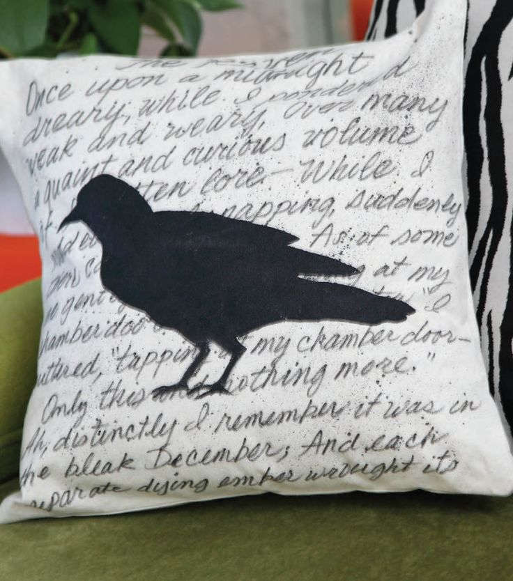 "Love this ""The Raven"" silhouette pillow!  Great idea for Halloween home decor!Decor Ideas, Buy Haunted, Fabrics Projects, Silhouettes Pillows, Crafts Projects, Haunted Silhouettes, Decor Pillows, Crafts Stores, General Crafts"