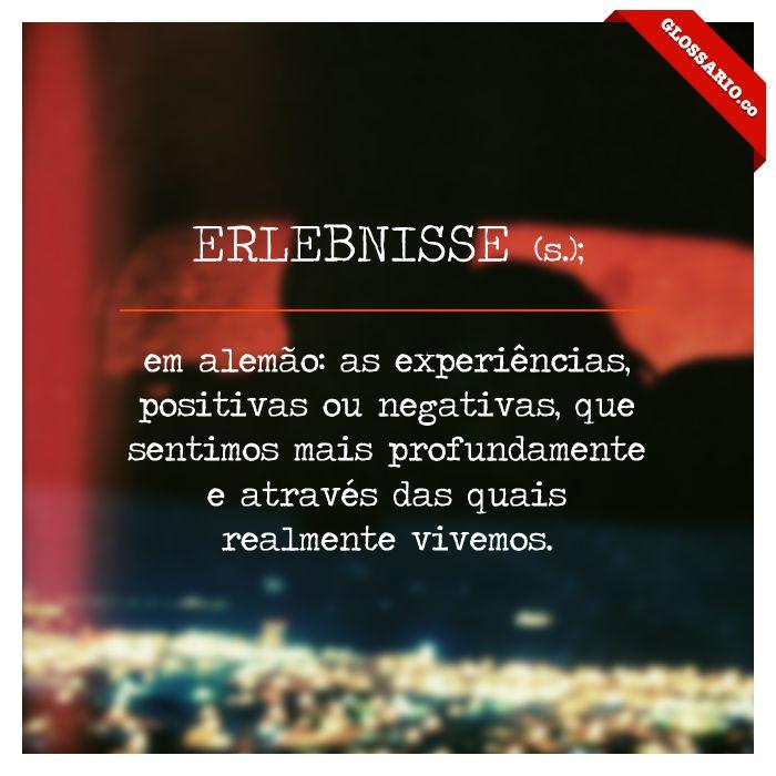 ERLEBNISSE (s.); em alemão: as experiências, positivas ou negativas, que sentimos mais profundamente e através das quais realmente vivemos.