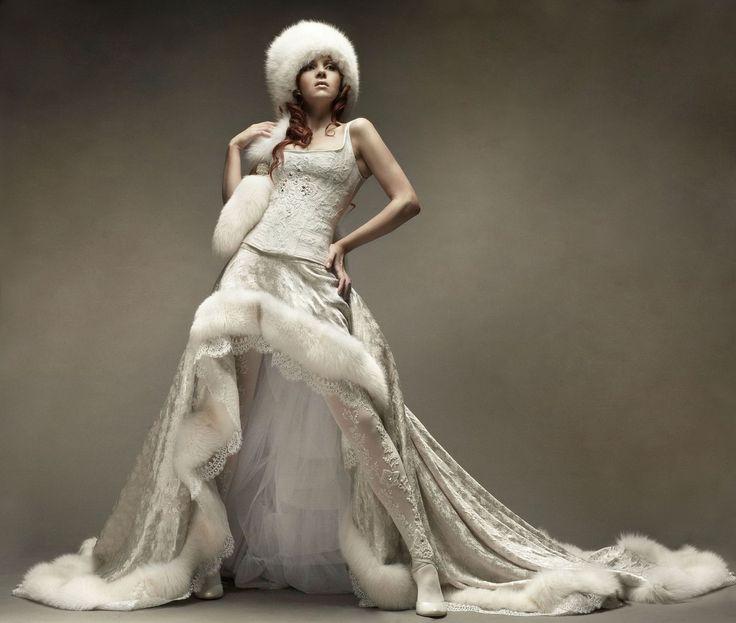 свадебные платья с меховой отделкой