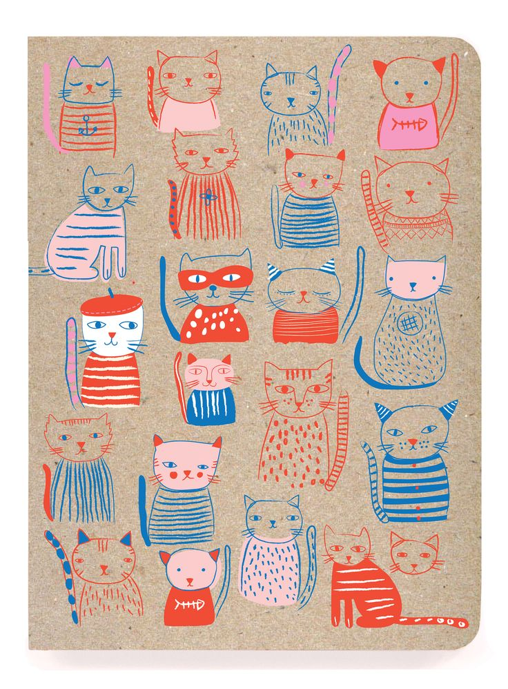 "JOURNALS :: Notebooks with Perfect Binding :: 6x8"" perfect bound :: French Cats…"