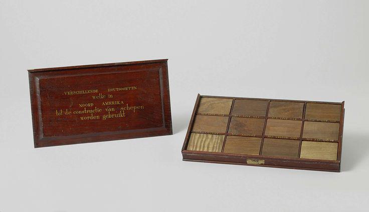 Anonymous | Kistje met twaalf houtmonsters van Noord Amerika, Anonymous, 1826 | Rechthoekige houten doos met twaalf houtmonsters, alle voorzien van etiket: steeneik (quercus spec., 3 monsters), gewone eik (quercus spec.), bastaard acasia (vermoedelijk robinia pseudoacacia, 2 monsters), grenen (pinus spec.), rode ceder (thuja plicata), witte esdoorn (acer spec.), sassefras (sassafras spec.), moerbezie (morus rubra), essen (fraxinus pennsylvanica).
