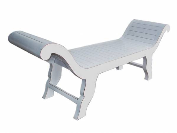 Chaise Sofa Carved Bed end 130 x 50 x 40 White F1285 R
