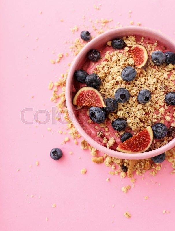 Delicious food breakfast. Healthy food. Mousse with blueberry and muesli. The photo has been made by YekoPhotoStudio, who is one of the best Colourbox photographers. Find more amazing pictures on www.colourbox.com