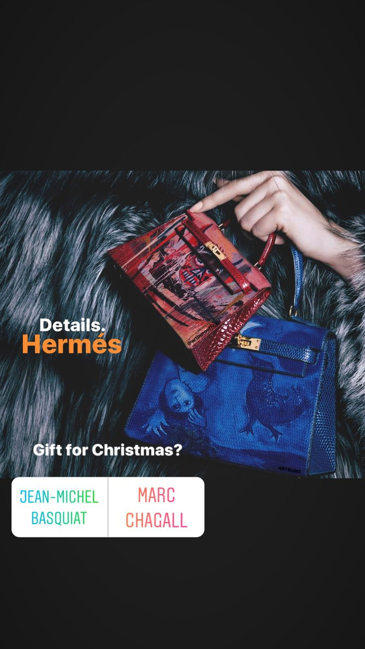 ARTBURO Christmas Charity Auction. Hand painted Hermés bags by ARTBURO Personalization. Exceptional Pieces. #artburo #hermes #artburoauction #basquiat #chagall #charity #fashion #art #luxury #christmas #gift