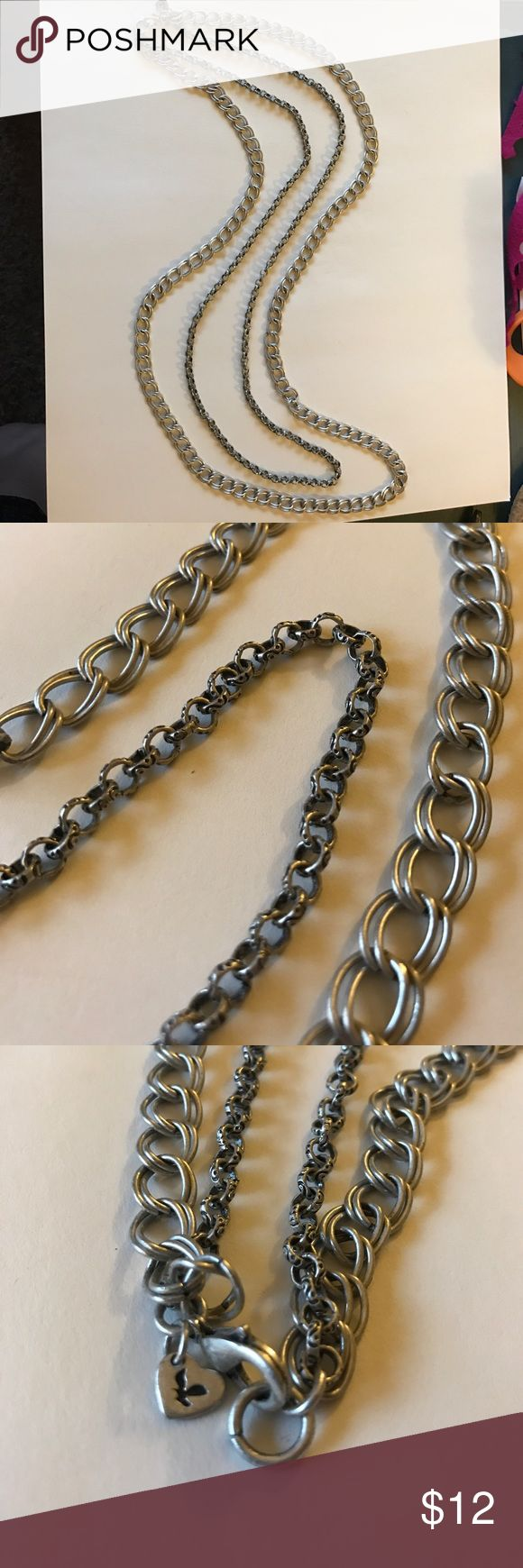 "Double Chain Necklace Double silver chain long necklace. Length approx 19"" Jewelry Necklaces"