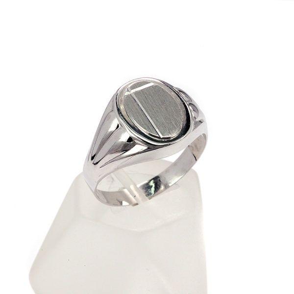 Ανδρικό δαχτυλίδι λευκόχρυσο Κ14   7707