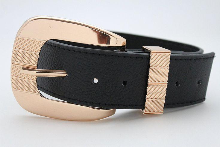TFJ Women Boot Bracelet Western Gold Metal Belt Buckle Charm Black Strap Faux Leather ** For more information, visit image link. #Jewelry