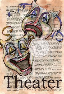 Theater Comedy Tragedy Masks Mixed Media Drawing on Distressed, Dictionary Page - available for purchase at www.etsy.com/shop/flyingshoes - flying shoes art studio