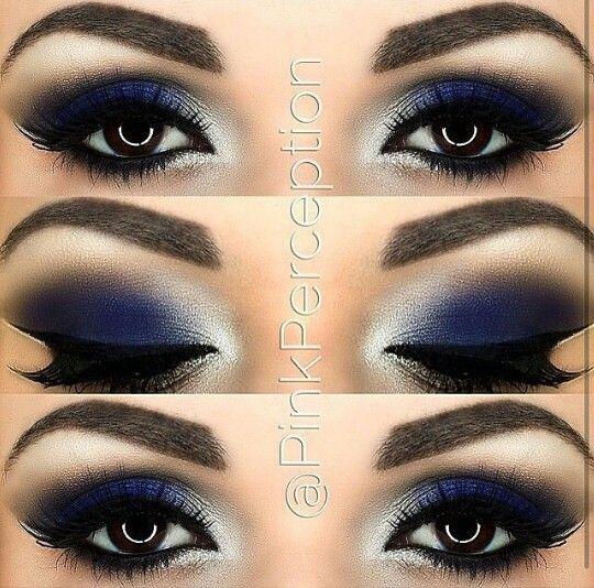Azul escuro e branco.