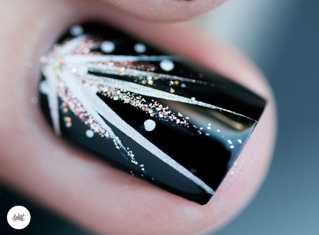 Idees de nail art à paillettes facile pour nouvel an