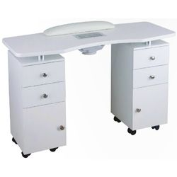 Ella Wood Topped Manicure Table - Double Column - The Ella Wood Topped Manicure Table has an inviting white lacquered wood finish. This attractive double column manicure desk has drawers, doors and shelves that are perfect storage.  Features: