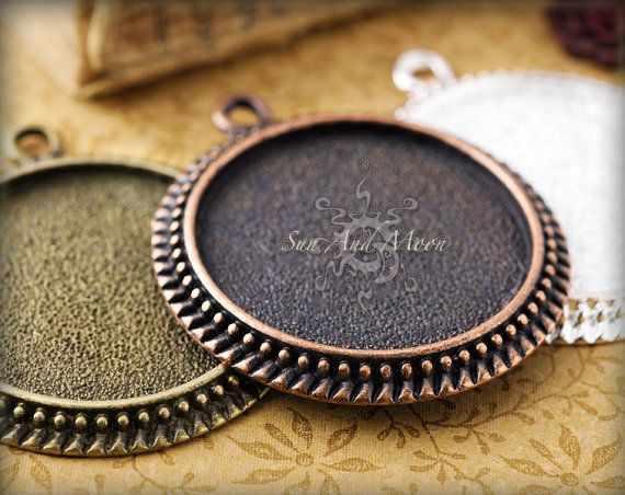 40  25mm Vintage Settings  Mix and Match  by SunAndMoonCraftKits, $16.00