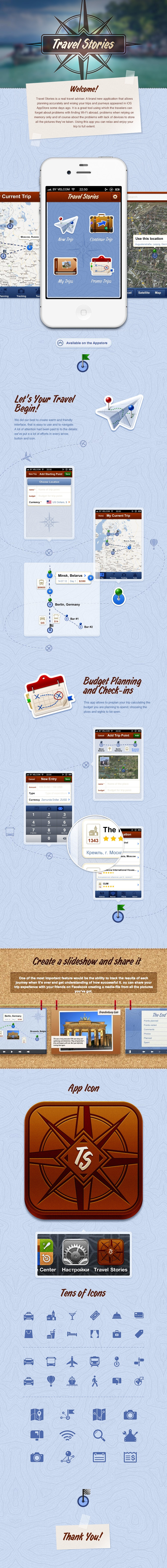 Travel Stories - iPhone application for trip or journey planning - by AGENTE and Vladimir Gorz , via Behance