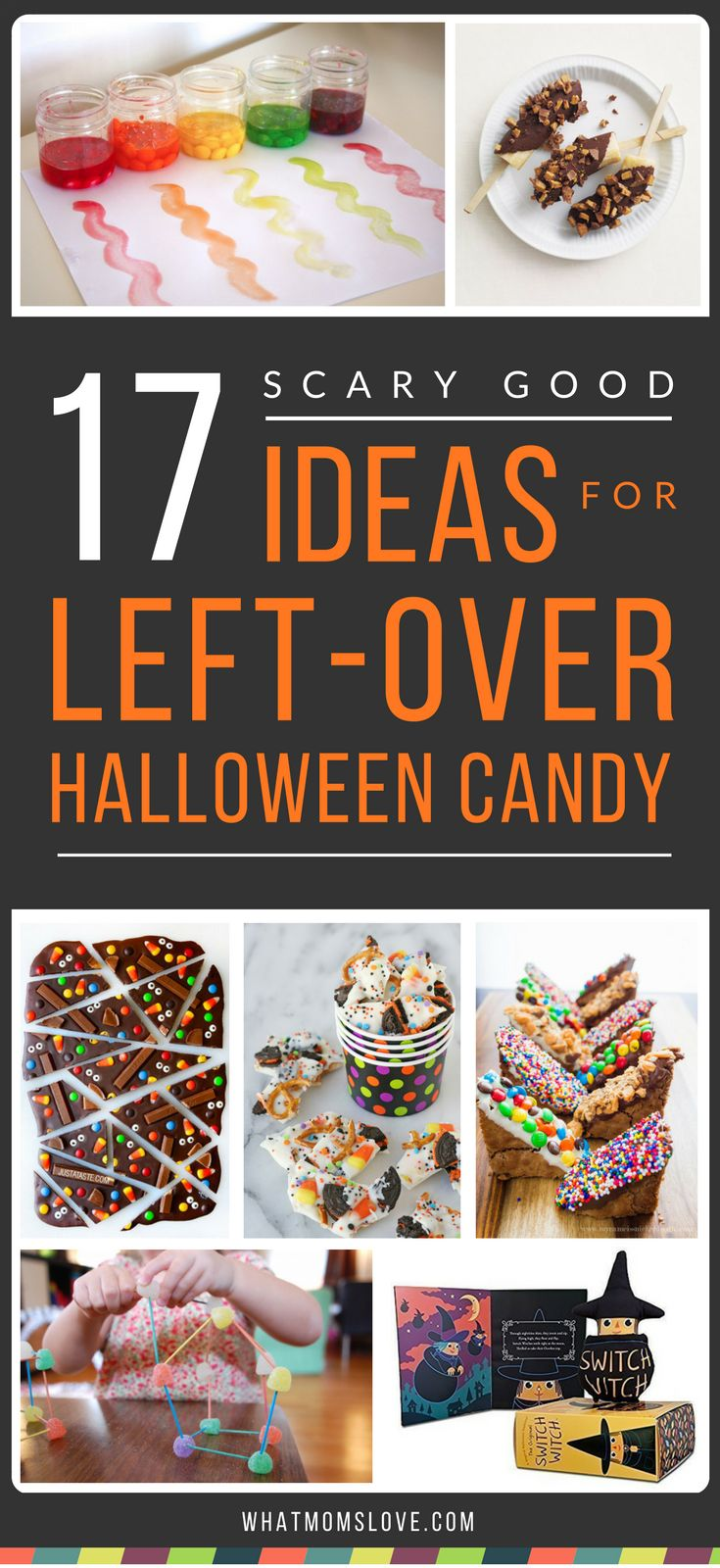 Wondering what to do with your leftover Halloween candy? Click for the best recipes (and not just cookies and brownies, we're talking chocolate bark, candy dip and fruit pops!), plus ideas on reusing it for upcoming birthdays (hello pinata) or the Holidays. And fun ideas for how your kids' can learn with it, play with it (turn it into paint!) or have it magically disappear (enter the Switch Witch). Click for all the awesome ideas or pin for later | from What Moms Love