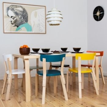 Aalto chair 69 in new colours. Manufactured by Artek since 1935.