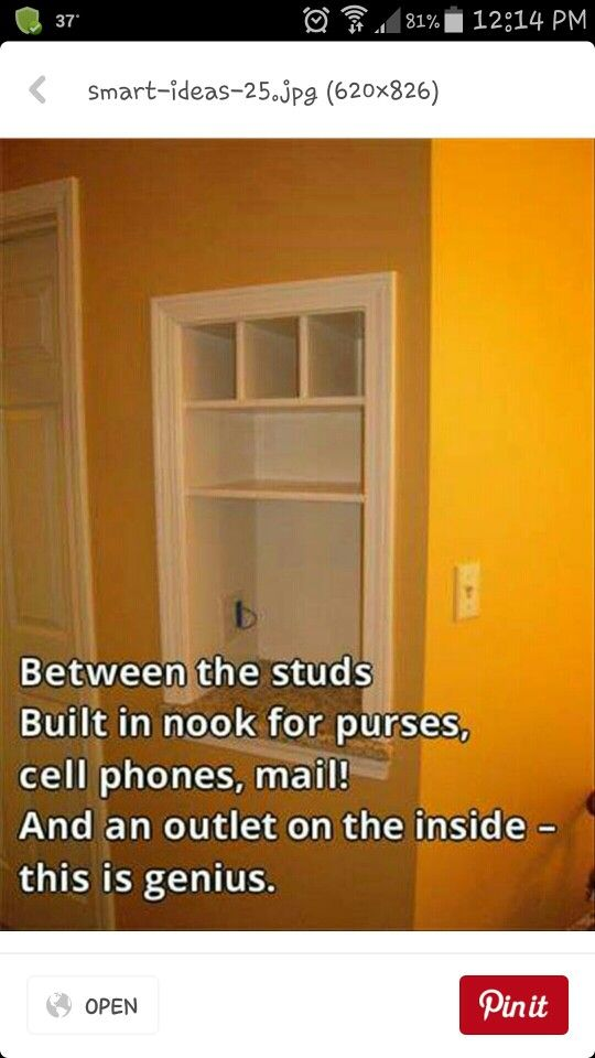 Wall niche for keys, outgoing mail with an electrical outlet (cell phone)in my rear entry foyer
