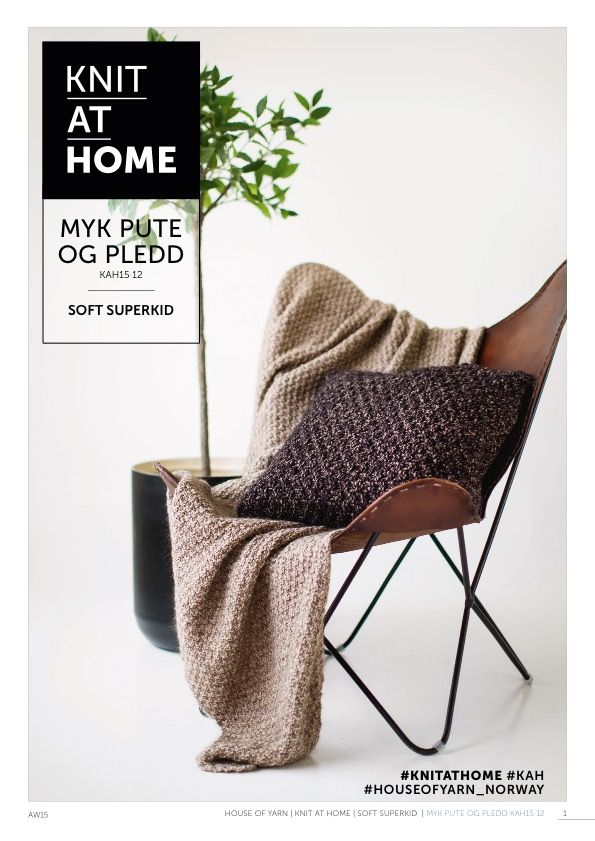 15-12 MYK PUTE OG PLEDD | free knitting  pattern | knitted pillow | knitted throw | knitted blanket | chunky knits | knitting pattern