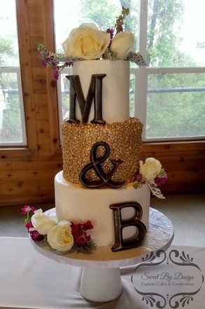 Gold sequin wedding cake with initials by Sweet By Design in Melissa, TX
