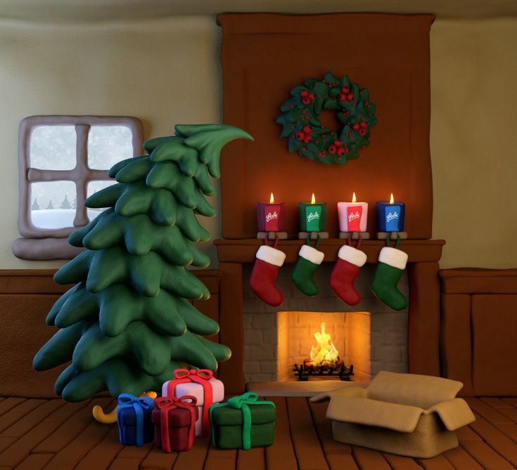 Glade - Release The Memories, project by Andrei Serghiuta - 3D render using Maya and mental ray. Plasticine styled objects in a Christmas setting. Christmas Tree.