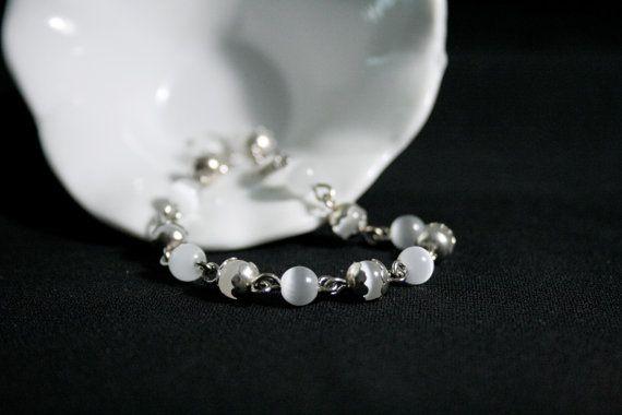 White Cats Eye Link Bracelet by BlueJewelsCreations on Etsy, $10.00