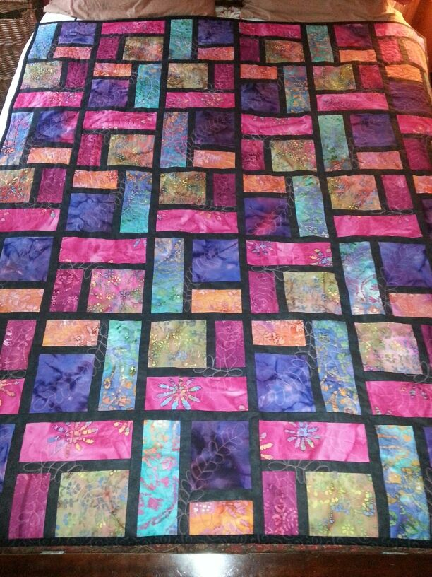 Stained Glass Quilt - finished image on Quilting Board at http://www.quiltingboard.com/pictures-f5/wedding-gift-stained-glass-quilt-t221305.html