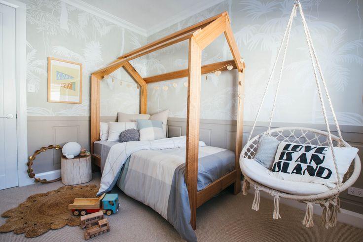 Kyal & Kara Long Jetty Reno. Loughlin Furniture Kids Timber 'house' bed. Beautiful Styling by Kara Demmrich.