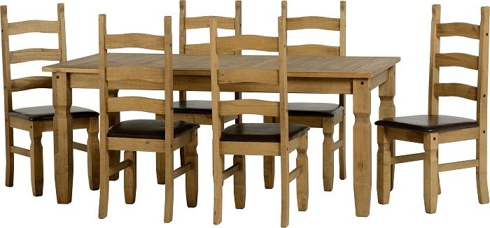 sales@spt-furniture.com Corona Extending Dining Set (1+6) Distressed Waxed Pine/Expresso Brown PU  Assembled Sizes(MM) 2000 x 900 x 755 1600 x 900 x 755 425 x 470 x 107 Extra Information TABLE: TOP THICKNESS 25MM LEG THICKNESS 85MM HEIGHT OF FRAME H635 CHAIR: SEAT PAD SIZE W425 D445 SEAT PAD FROM GROUND H455 BACKREST SIZE W380 H615