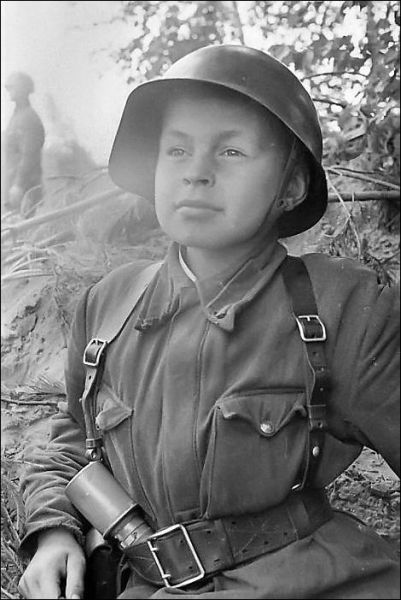 Child soldier - in desperation the Nazi's used many of these children often as fodder for front line diversionary actions. These children didn't have a chance.: