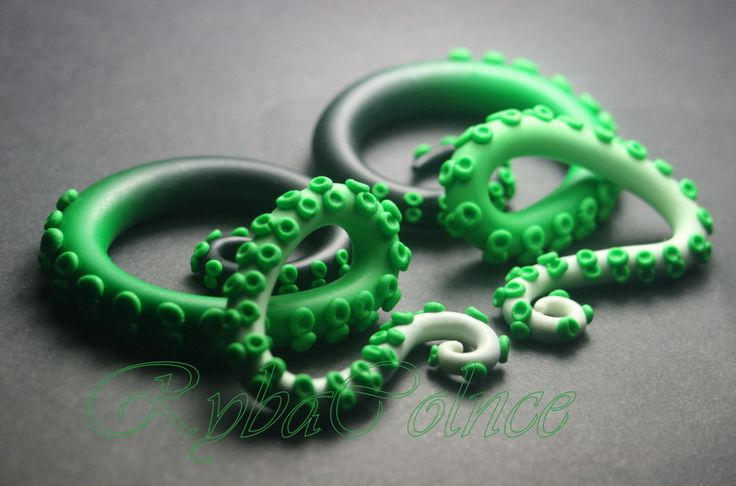 "Tentacles of St. Patrick/ Fake ear gauge / Plugs 8g, 6g ,4g, 2g, 0g, 00g, 3/8"", 1/2"", 9/16"", 5/8"", 3/4"" by RybaColnce on Etsy"