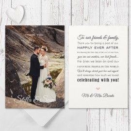 Modern Photo Wedding Photo Thank You card, Custom Colour Changes, Professionally Printed by Peach Perfect Australia