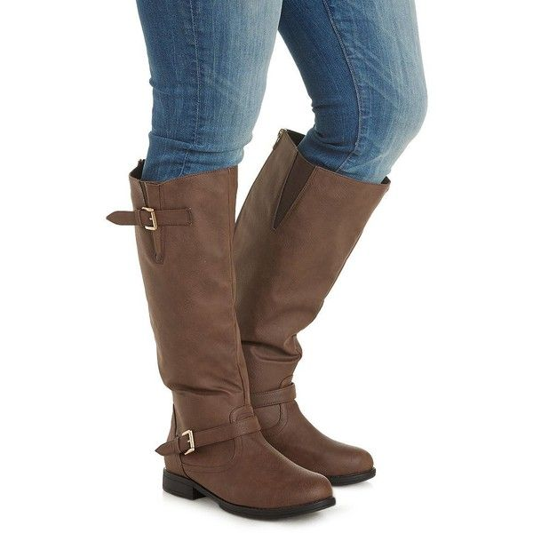 Charlotte Russe Brown WIDE FIT Flat Riding Boots by Charlotte Russe at... (2,075 DOP) ❤ liked on Polyvore featuring shoes, boots, brown, brown boots, brown knee high boots, brown flat boots, wide calf knee high boots and flat boots